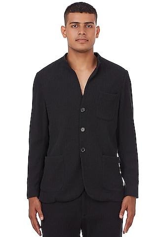 Black Cotton Crinkle Jacket by Genes Lecoanet Hemant Men
