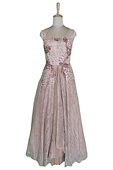 Blush Pink Gown With Sheer Back by Sounia Gohil