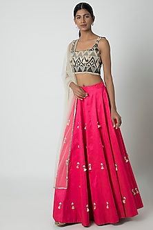 Pink & Black Embroidery Lehenga Set by Sounia Gohil