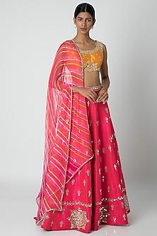 Pink & Orange Embellished Lehenga Set by Sounia Gohil