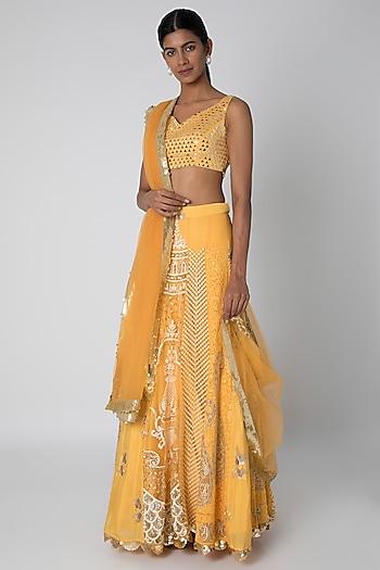 Mango Yellow Embroidered Kalidar Lehenga Set by Sounia Gohil
