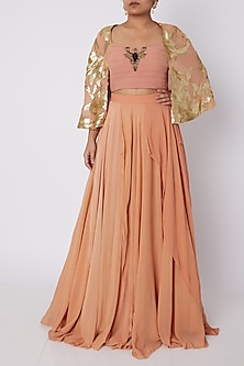 Peach Embroidered Crop Top With Pleated Skirt by Sounia Gohil