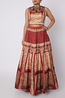 Red & Golden Embellished Top With Skirt by Sounia Gohil