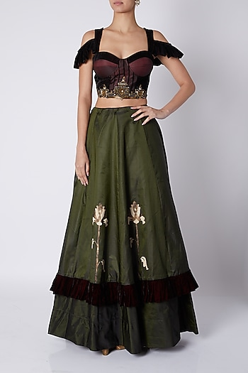 Maroon Embellished Blouse With Olive Green Skirt by Sounia Gohil