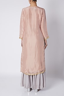Pink & Grey Embellished Kurta Set by Sounia Gohil