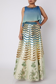 Sky Blue Embellished Ombre Skirt Set by Sounia Gohil