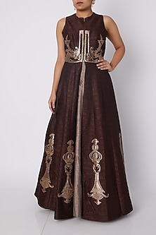 Brown Jacket Style Kurta With Beige Skirt by Sounia Gohil