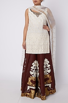 White & Brown Embroidered Kurta Set by Sounia Gohil