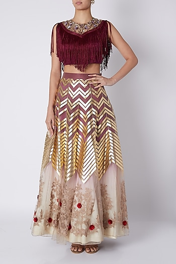 Maroon Embroidered Crop Top With Ombre Lehenga by Sounia Gohil