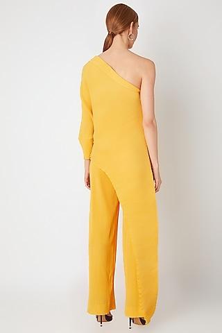 Yellow One Shoulder Top With Pants by Gunu Sahni