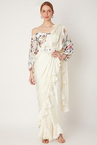 White Embroidered Pre-Stitched Saree Set With Belt by Gunu Sahni