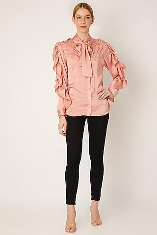 Peach Sequins Embellished Shirt by Gunu Sahni