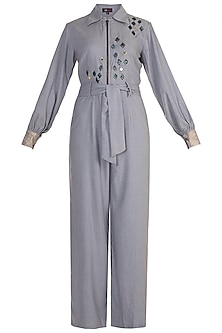 Powder Blue Embroidered Jumpsuit by Gunu Sahni