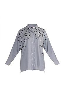 Grey Bead Embellished Shirt by Gunu Sahni