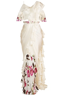 White Printed Saree Set With Embroidered Belt by Gunu Sahni