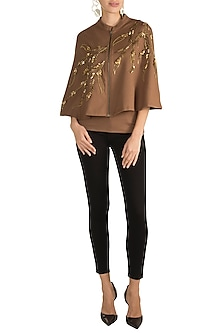 Bronze Embroidered Cape With Inner by Gunu Sahni