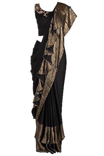 Black Embellished Saree Set by Gunu Sahni