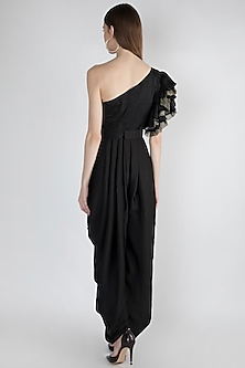Black Embroidered Jumpsuit With Detailed Belt by Gunu Sahni