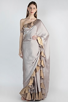Grey Frilled Saree Set by Gunu Sahni