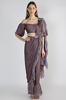 Purple Embroidered Pre-Stitched Saree Set by Gunu Sahni