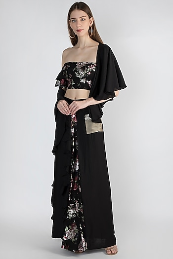 Black Printed & Embroidered Pre-Stitched Saree Set by Gunu Sahni