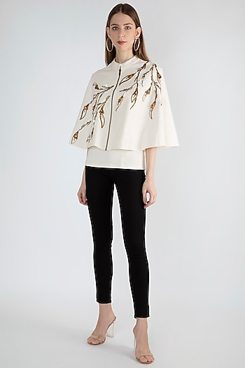 White Embroidered Cape With Inner by Gunu Sahni