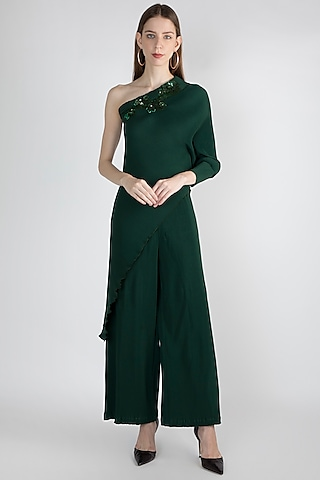 Emerald Green Embroidered Top & Pant by Gunu Sahni