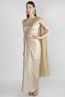 Champagne Gold Pleated Draped Saree Set by Gunu Sahni