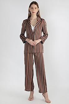 Brown Striped Embroidered Jacket With Palazzo Pants by Gunu Sahni