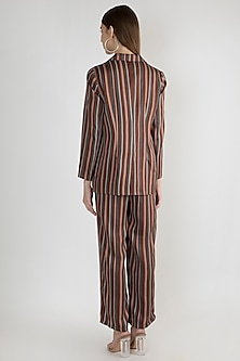 Brown Striped Embroidered Jacket With Palazzo Pants by Gunu Sahni