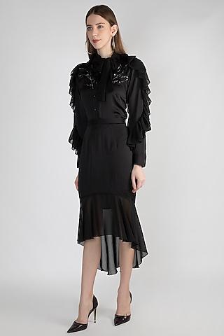 Black Georgette Frilled Skirt by Gunu Sahni