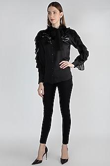 Black Frilled Embroidered Shirt by Gunu Sahni