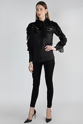 Black Frilled Embroidered Shirt by Gunu Sahni