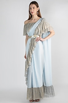 Sky Blue Embroidered Saree Set With Belt by Gunu Sahni
