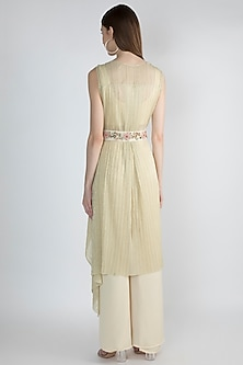 Gold Embroidered Crop Top With Palazzo Pants & Belt by Gunu Sahni