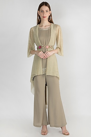 Olive Green Embroidered Cape With Tunic, Pants & Belt by Gunu Sahni