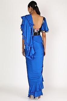 Royal Blue Embroidered Pre-Stitched Saree Set by Gunu Sahni