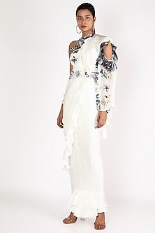 White & Silver Embroidered Pre-Stitched Saree Set by Gunu Sahni