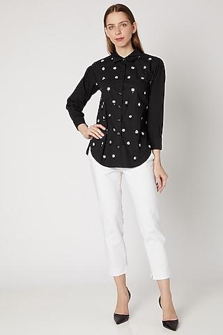 Black Sequins Embroidered Shirt by Gunu Sahni