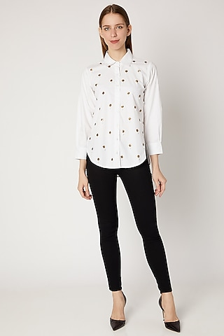 White Sequins Embroidered Shirt by Gunu Sahni