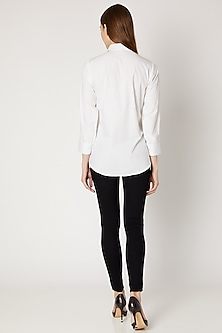 White Sequins Embroidered Shirt by Gunu Sahni