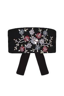 Black Sequins and Beads Embroidered Obi Belt by Gunu Sahni