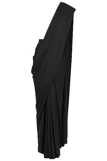 Black Pre-Stitched Saree by Gunu Sahni