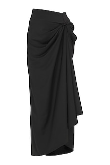 Black Draped Maxi Skirt by Gunu Sahni