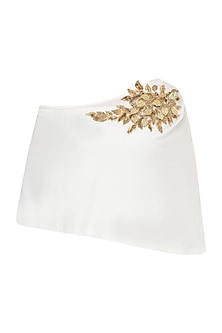 White One Side Off Shoulder Embellished Top by Gunu Sahni