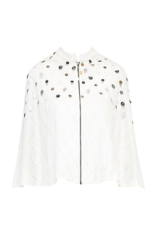 White Front Open Embroidered Cape Jacket by Gunu Sahni