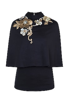 Black Embroidered Cape Top by Gunu Sahni