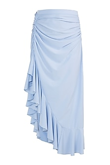 Powder Blue Asymmetrical Drape Skirt by Gunu Sahni