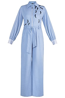 Powder blue Embroidered Jumpsuit with Belt by Gunu Sahni