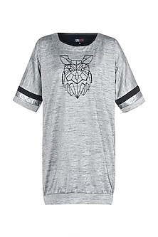 Grey Embellished T-Shirt Dress by Gunu Sahni